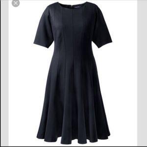 Lands End Black Short Sleeve Stretchy Swing Dress
